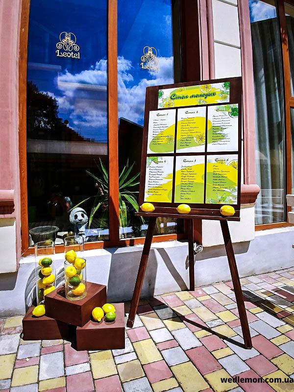 дошка для розсадки з лимонами