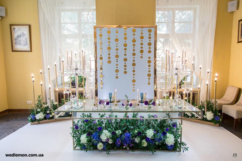 оформлення весільного столу молодих
