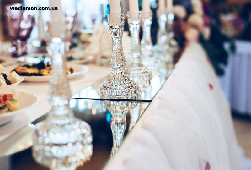 скляні одинарні прозорі підсвічники на дзеркалах як декор столу молодят