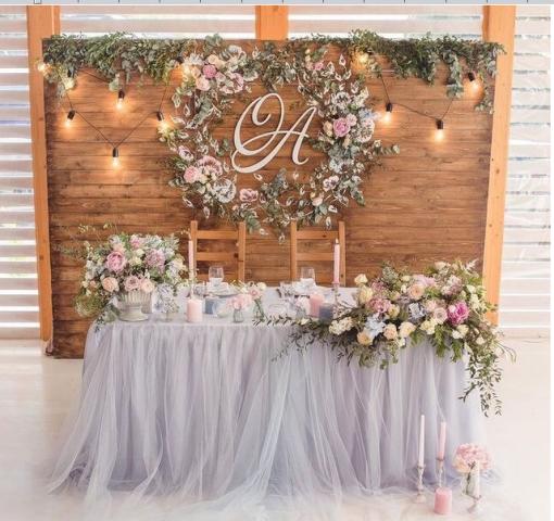 Ретро гірлянди у весільному декору, зона для молодят