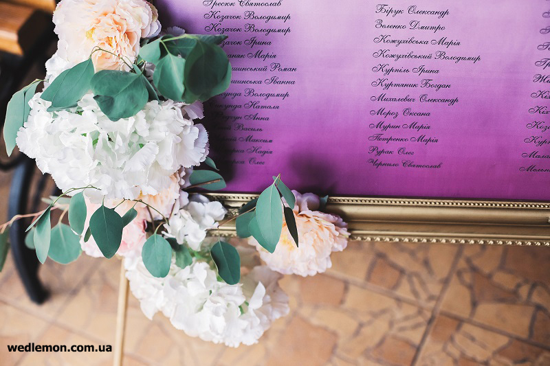 квіти як декор на розсадку гостей