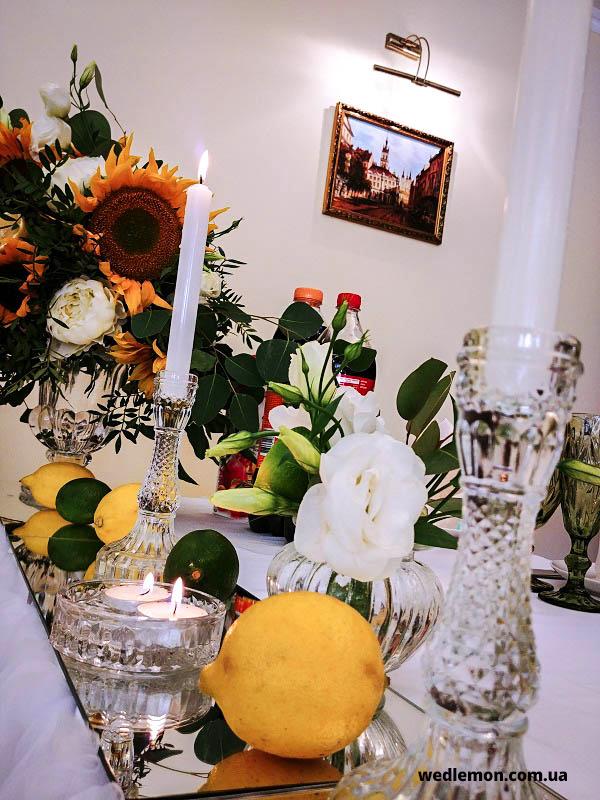 лимони у весільному декорві