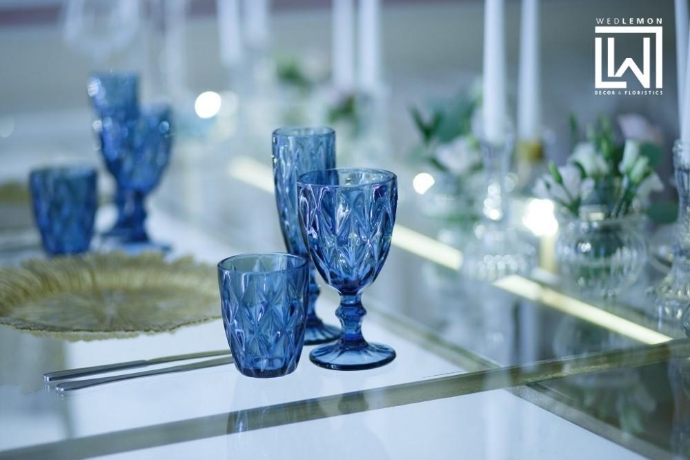 Сині склянки, бокали для шампанського сині, бокал сині прокат у Львові