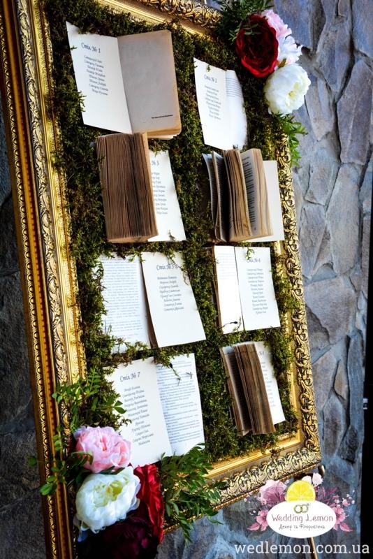 план гостей на книжках на моховій основі золота рамка кований мольберт